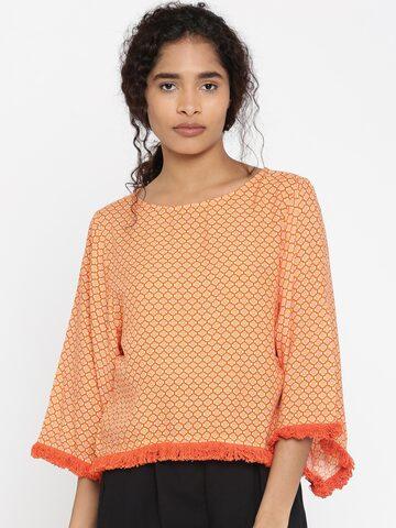 Global Desi Women Orange & Yellow Printed Top Global Desi Tops at myntra