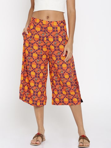 Global Desi Women Orange Original Printed Culottes Global Desi Trousers at myntra