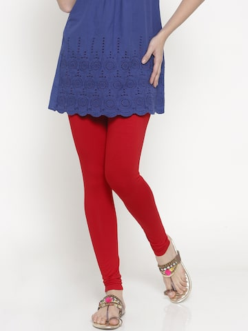 Global Desi Red Leggings Global Desi Leggings at myntra