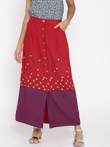 Global Desi Red Printed A-Line Maxi Skirt Global Desi Skirts at myntra
