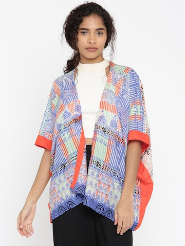 Global Desi Multicoloured Printed Open Front Shrug Global Desi Shrug at myntra