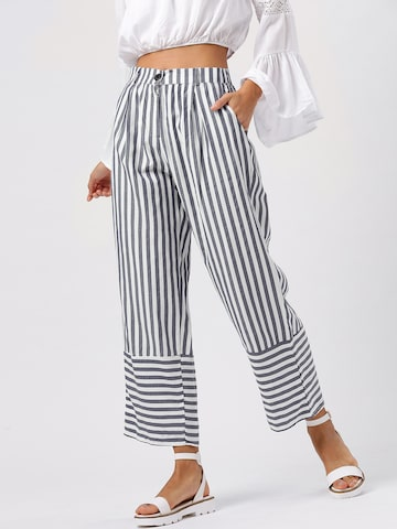 DressBerry Women Navy Blue & White Regular Fit Striped Parallel Trousers DressBerry Trousers at myntra
