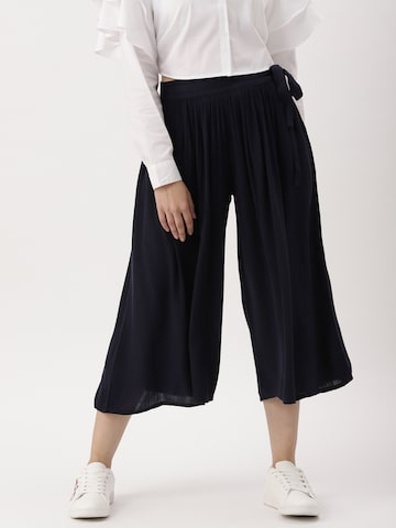 DressBerry Women Navy Regular Fit Solid Culottes DressBerry Trousers at myntra