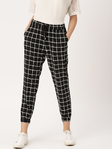 DressBerry Women Black & White Regular Fit Checked Joggers DressBerry Trousers at myntra