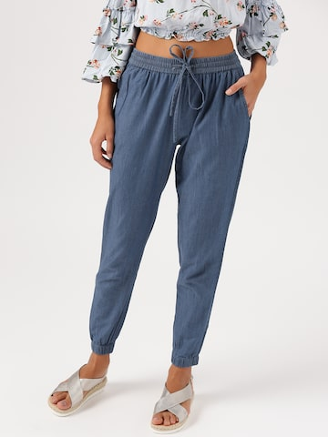 DressBerry Women Blue Chambray Joggers DressBerry Trousers at myntra