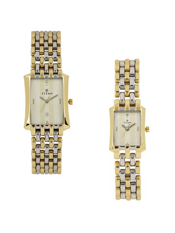 Titan Bandhan Set of 2 His & Her Silver-Toned Dial Watches NC19642964WM01 Titan Watches at myntra
