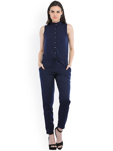 Cottinfab Blue Solid Basic Jumpsuit Cottinfab Jumpsuit at myntra