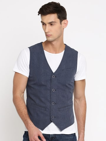 United Colors of Benetton Men Blue Solid Waistcoat United Colors of Benetton Waistcoat at myntra