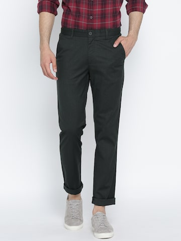 United Colors of Benetton Men Charcoal Grey Slim Fit Trousers United Colors of Benetton Trousers at myntra