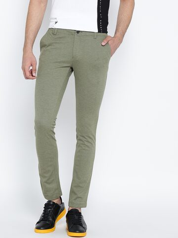 United Colors of Benetton Men Olive Green Slim Fit Trousers United Colors of Benetton Trousers at myntra