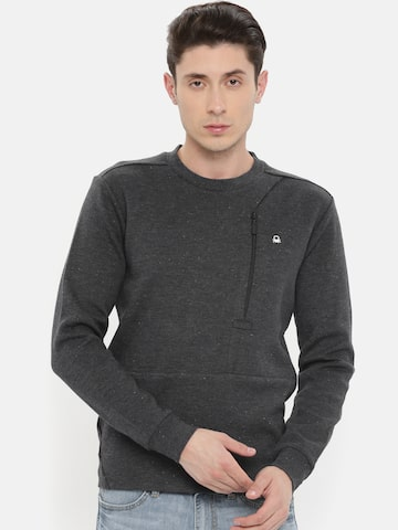 United Colors of Benetton Men Charcoal Grey Solid Sweatshirt United Colors of Benetton Sweatshirts at myntra