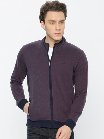 United Colors of Benetton Men Navy Blue & Purple Self-Design Sweatshirt United Colors of Benetton Sweatshirts at myntra