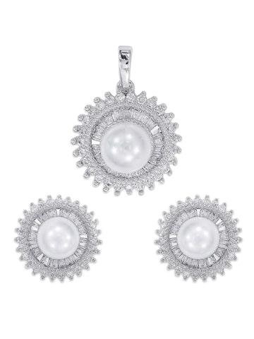 Peora Cubic Zirconia Earring & Pendant Set Peora Jewellery Set at myntra