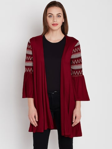 Femella Maroon Solid Open Front Shrug Femella Shrug at myntra