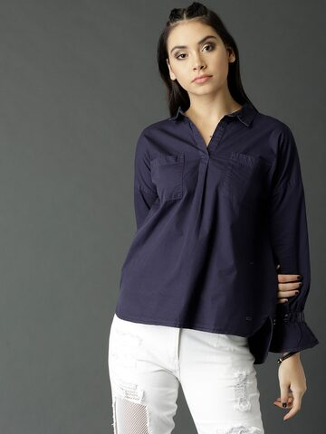 Roadster Women Navy Solid Shirt Style Top Roadster Tops at myntra