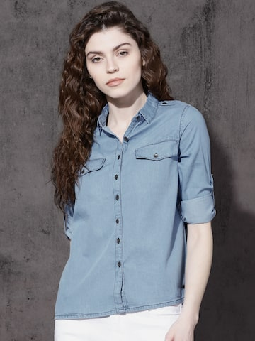 Roadster Women Blue Regular Fit Solid Chambray Casual Shirt Roadster Shirts at myntra