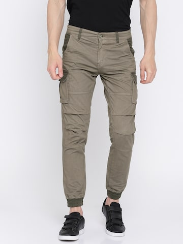 GAS Men Grey Skinny Fit Solid Cargos GAS Trousers at myntra