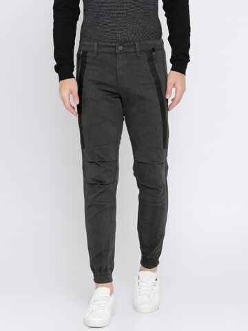 GAS Men Charcoal Grey Regular Fit Solid Joggers GAS Trousers at myntra