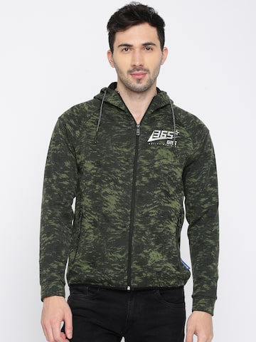 GAS Men Olive Green & Grey Printed Sweatshirt GAS Sweatshirts at myntra