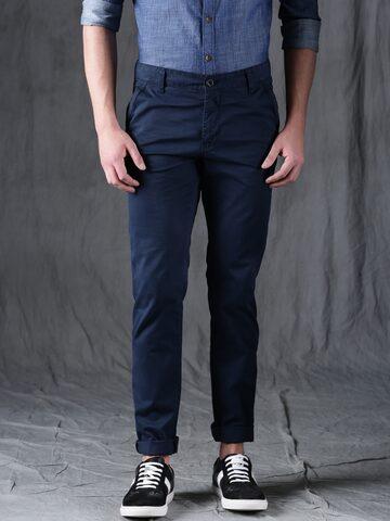 WROGN Men Navy Blue Slim Fit Solid Regular Trousers WROGN Trousers at myntra