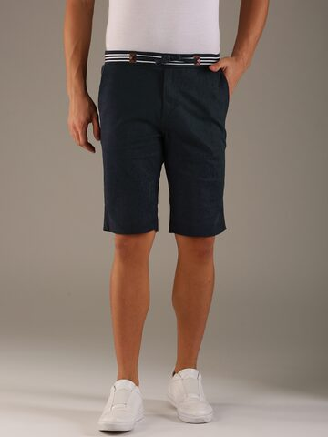 Flying Machine Men Navy Blue Solid Regular Fit Regular Shorts Flying Machine Shorts at myntra