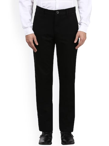 Park Avenue Men Black Tapered Fit Solid Regular Trousers Park Avenue Trousers at myntra