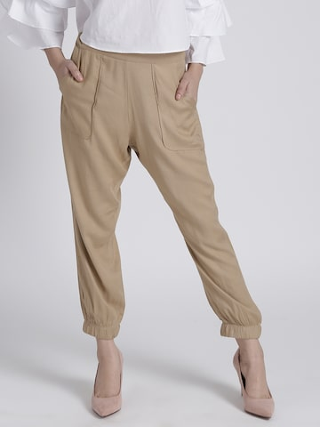 Chemistry Women Beige Regular Fit Solid Joggers Chemistry Trousers at myntra