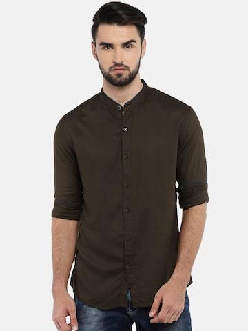 SPYKAR Men Olive Green Regular Fit Solid Casual Shirt SPYKAR Shirts at myntra