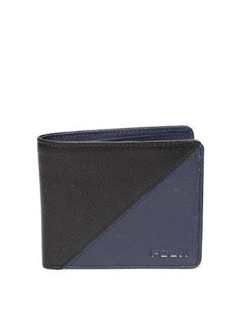 French Connection Men Black & Navy Colourblocked Two Fold Wallet French Connection Wallets at myntra