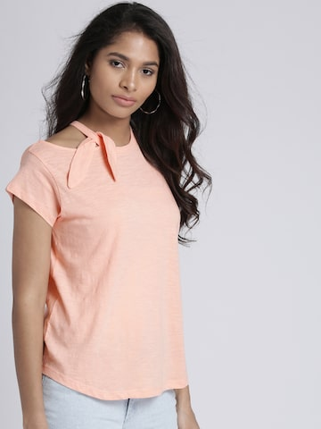 Chemistry Women Peach-Coloured Solid Top Chemistry Tops at myntra