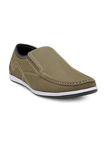 Franco Leone Men Olive Green Slip-On Leather Sneakers Franco Leone Casual Shoes at myntra