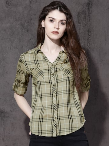 Roadster Women Beige & Navy Blue Regular Fit Checked Casual Shirt Roadster Shirts at myntra