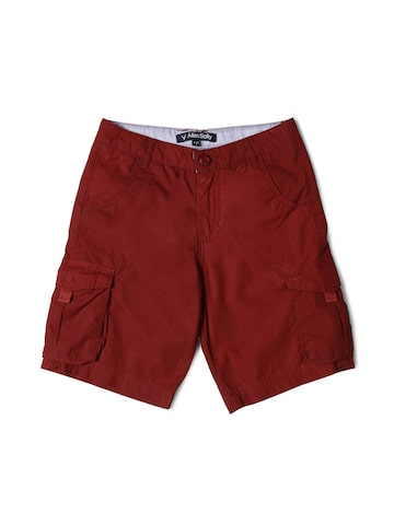 Allen Solly Junior Boys Maroon Solid Regular Fit Regular Shorts Allen Solly Junior Shorts at myntra
