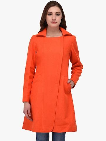 Owncraft Orange Longline Overcoat Owncraft Coats at myntra