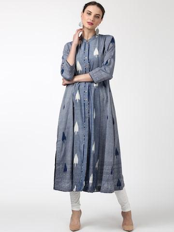 Ritu Kumar Women Blue Silk Printed A-Line Kurta Ritu Kumar Kurtas at myntra