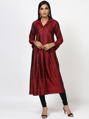 Ritu Kumar Women Maroon Silk Solid A-Line Kurta Ritu Kumar Kurtas at myntra