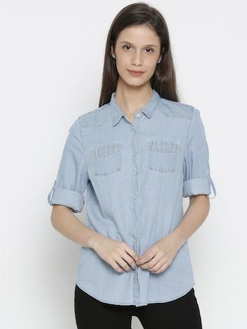Kraus Jeans Women Blue Chambray Casual Shirt Kraus Jeans Shirts at myntra