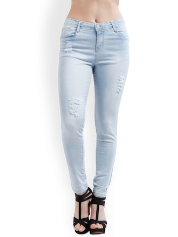 Kraus Jeans Women Blue Skinny Fit Mid-Rise Mildly Distressed Jeans Kraus Jeans Jeans at myntra