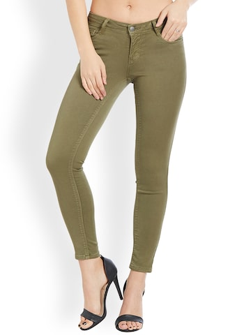Kraus Jeans Women Olive Green Skinny Fit Mid-Rise Clean Look Jeans Kraus Jeans Jeans at myntra