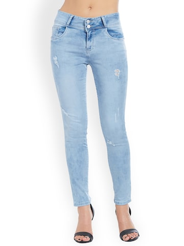 Kraus Jeans Women Blue Skinny Fit High-Rise Mildly Distressed Jeans Kraus Jeans Jeans at myntra