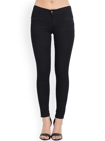 Kraus Jeans Women Black Skinny Fit Mid-Rise Clean Look Jeans Kraus Jeans Jeans at myntra