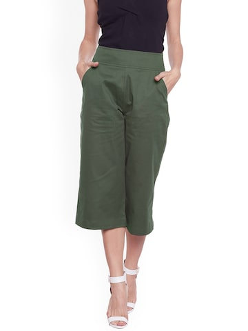 Castle Women Olive Green Smart Regular Fit Solid Culottes Castle Trousers at myntra