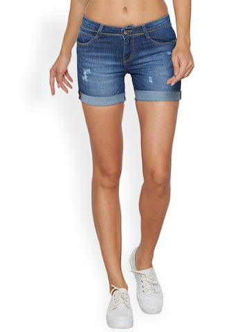 Kraus Jeans Women Blue Washed Skinny Fit Denim Shorts Kraus Jeans Shorts at myntra