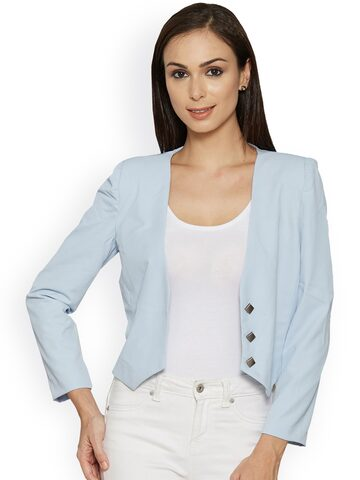 Kraus Jeans Women Blue Solid Open Front Jacket Kraus Jeans Jackets at myntra