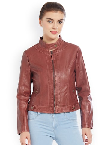 Kraus Jeans Women Burgundy Solid Biker Jacket Kraus Jeans Jackets at myntra