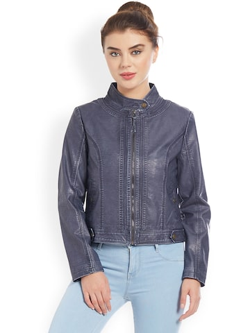Kraus Jeans Women Navy Blue Solid Biker Jacket Kraus Jeans Jackets at myntra