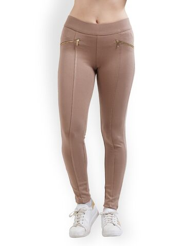 Kraus Jeans Women Brown Solid Woven Treggings Kraus Jeans Jeggings at myntra