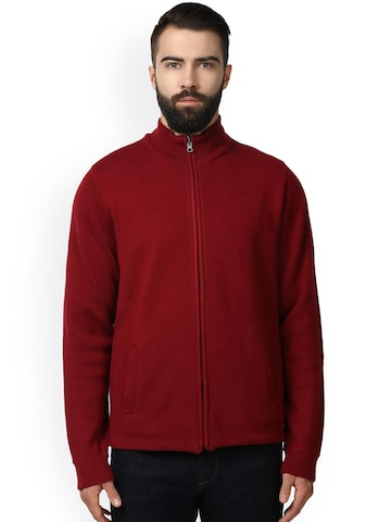 Raymond Men Maroon Solid Front-Open Woolen Cardigan Raymond Sweaters at myntra