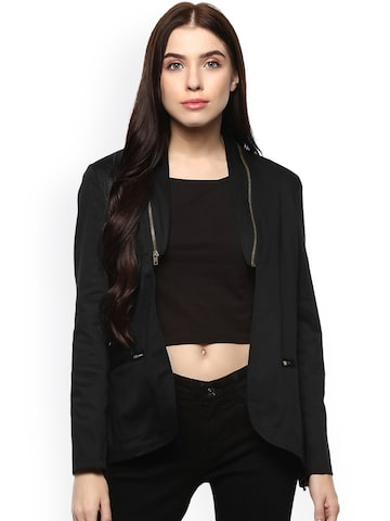 STREET 9 Women Black Solid Open Front Jacket STREET 9 Jackets at myntra