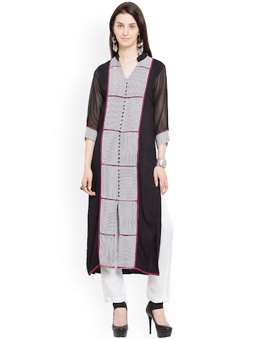 Nikhaar Women Black Striped Straight Kurta Nikhaar Kurtas at myntra